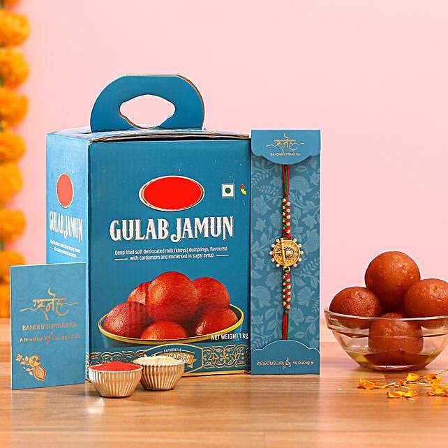 Peacock Feather Bansuri Rakhi And Gulab Jamun:Rakhi Gifts for Brother in USA