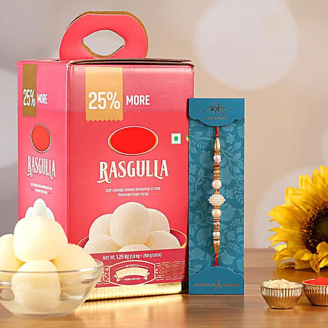 White Pearl Mauli Rakhi And Rasgulla:Send Rakhi With Sweets to USA