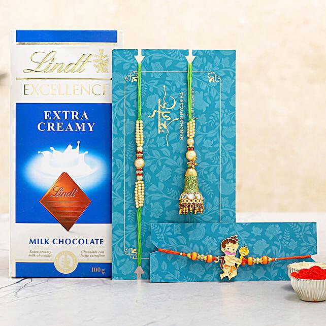 3 Traditional Rakhis N Lindt Chocolate
