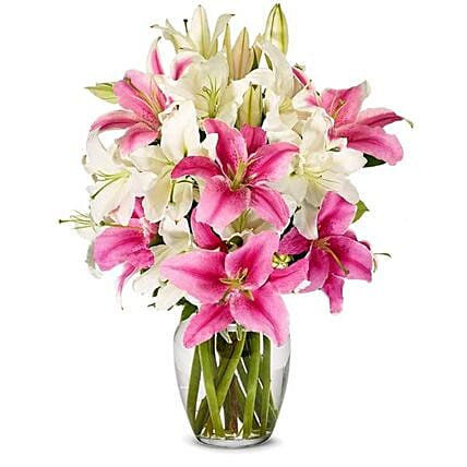 Exotic Mixed Lilies Vase:Mixed Flowers in USA