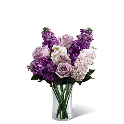 Refreshing Mixed Flowers Cylindrical Vase:Send Mixed Flowers to USA