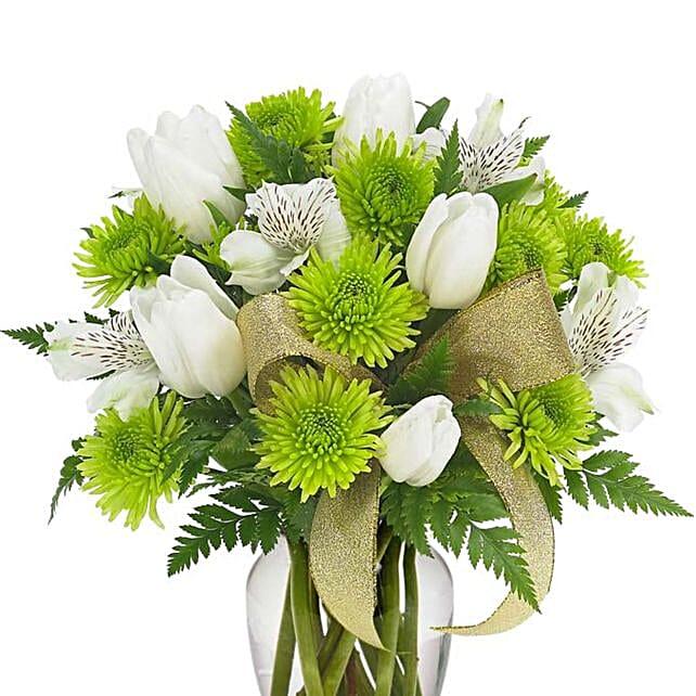 Serene Mixed Flowers Glass Vase