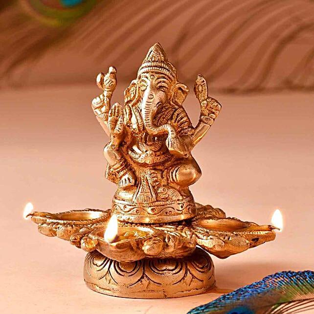 Lord Ganesha Brass Diya:Diwali Gift Delivery in USA