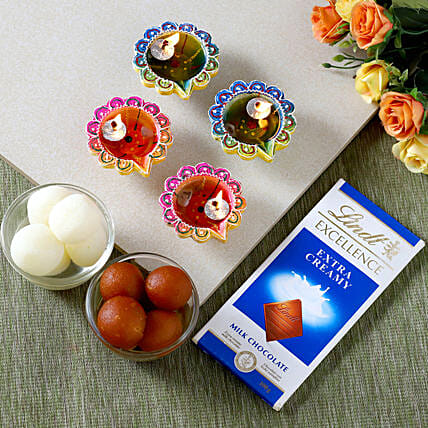 Designer Diyas With Lindt And Sweets
