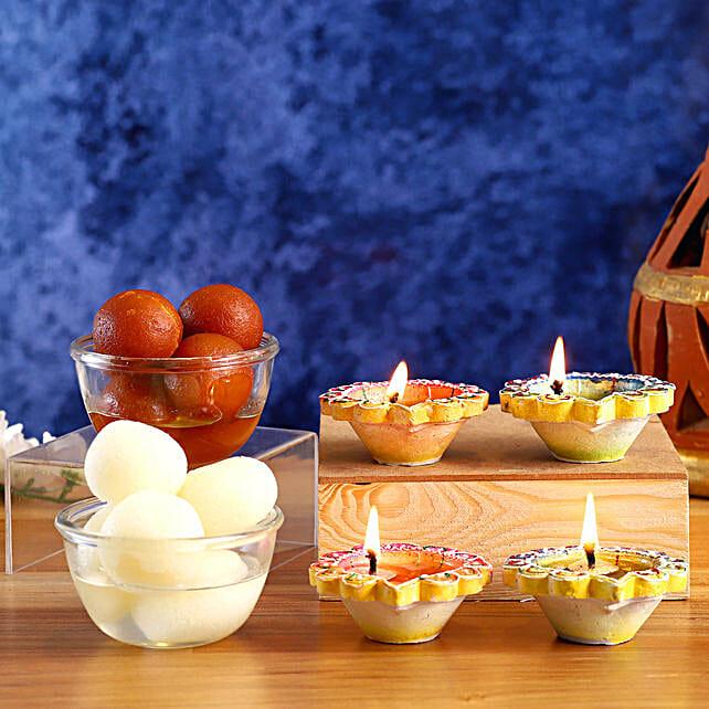 Designer Diyas With Sweets