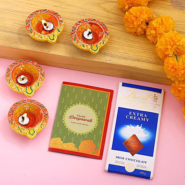 Diwali Diya Set With Greeting Card & Lindt:Diwali Gifts to USA