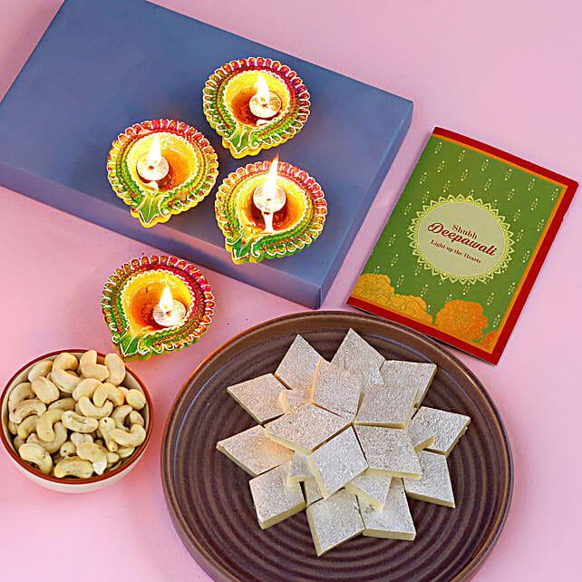 Happy Diwali Diyas And Delightful Treats Hamper