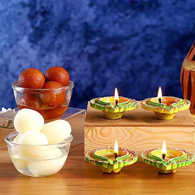 Happy Diwali Diyas And Sweets Hamper