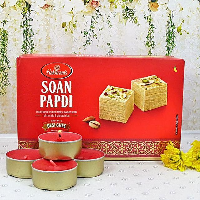Diwali Festivity Gold Wax Diyas And Soan Papdi
