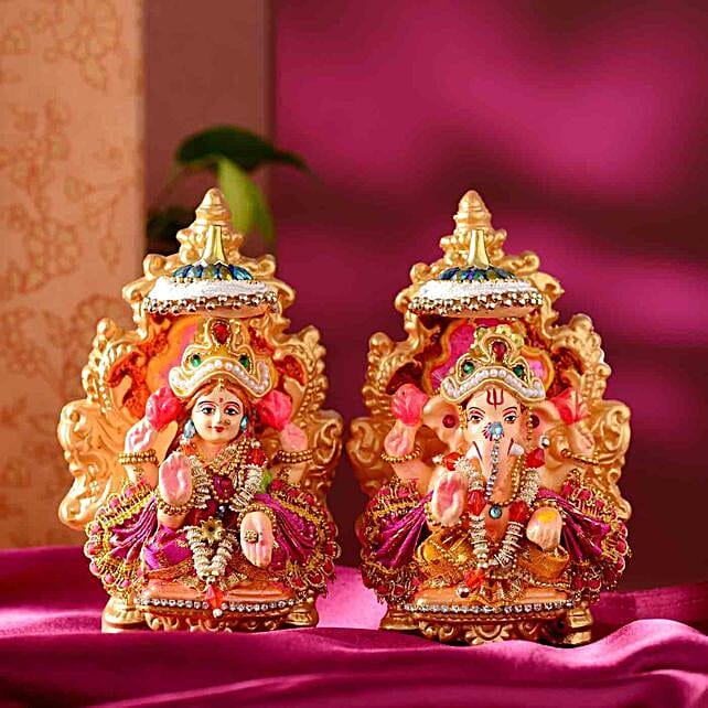 Devotional Lakshmi Ganesha Idol Set