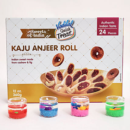 Vadilal Kaju Anjeer Rolls And Tealight Candles Combo:USA Sweets