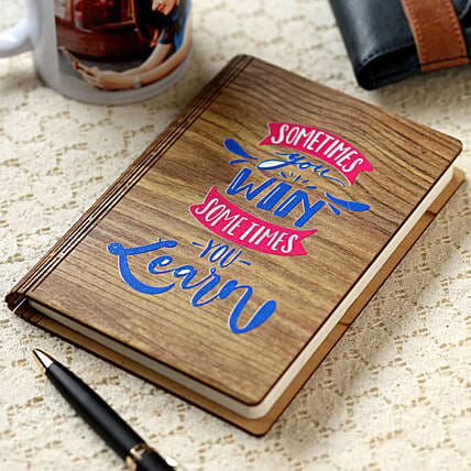 You Win You Learn Wooden Notebook