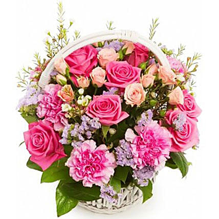12 Pretty Pink Roses In Basket:Send Gifts to Vietnam