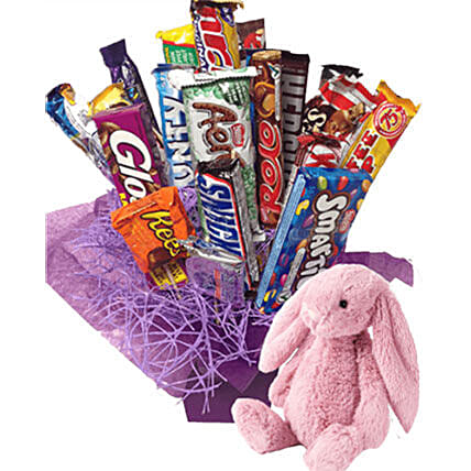 Combo Of Chocolates And Cute Bunny