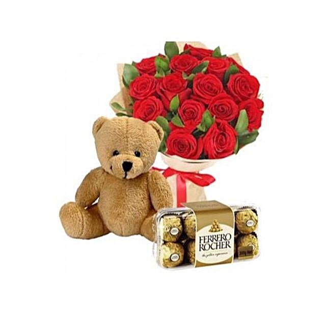 Teddy Roses N Ferrero Rocher Combo