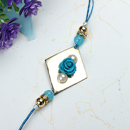 Blue Rose with Pearl Rakhi WES